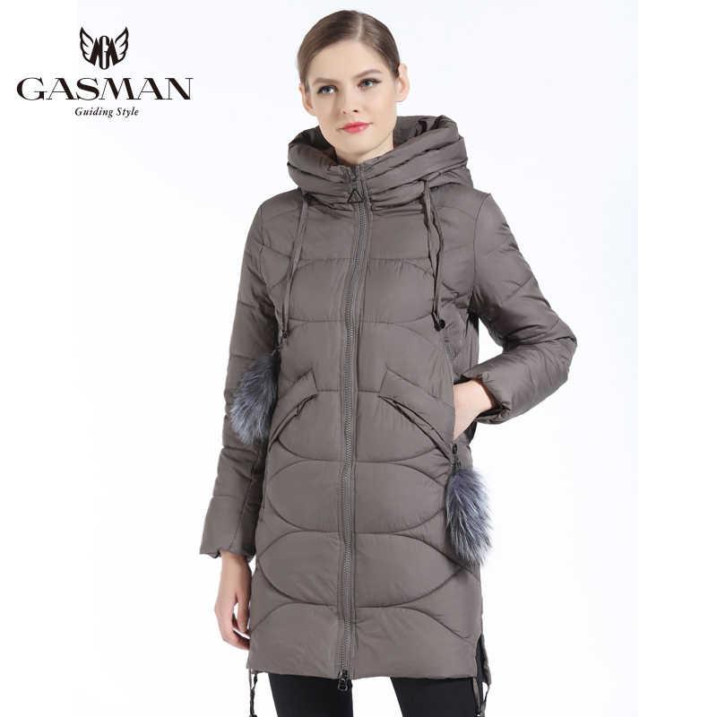 GASMAN 2019 נשים למטה מעיל חורף בינוני אורך נקבה עבה סלעית למטה Parka מותג מעיל Windproof מעיל עם טבעי פרווה