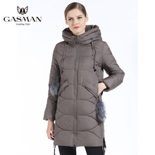 GASMAN 2019 Women Down Jacket Winter Medium Length Female Thick Hooded Down Parka Brand Coat Windproof Overcoat With Natural Fur(China)