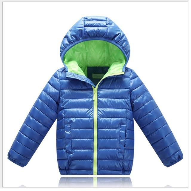 Solid niños abajo cubre niños sudaderas con capucha del invierno abrigos parkas boy traje para la nieve de algodón acolchado ropa de abrigo 5 6 7 8 año
