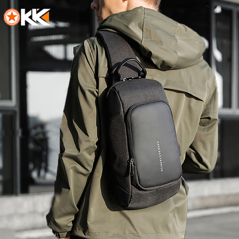 KAKA Luxury Chest Bag USB Messenger Crossbody Bags For Men