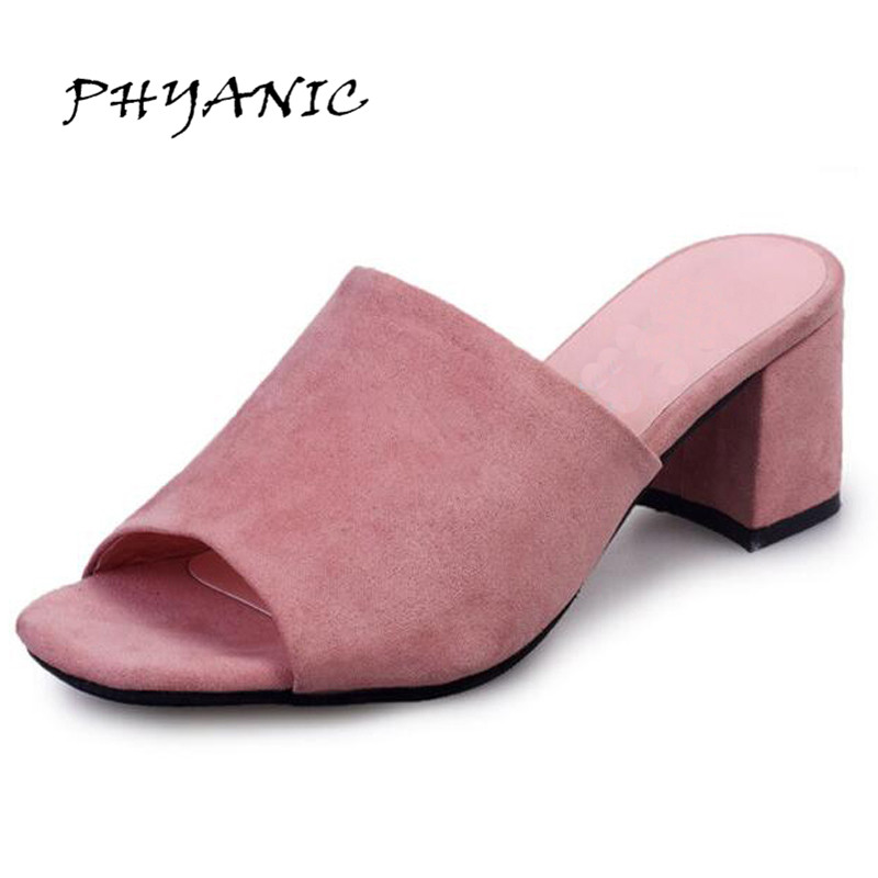 PHYANIC Flock Leather Summer Sandals Women Simple Square Peep-toe Slides Thick Heel Summer Shoes For Woman PHY1099 phyanic 2017 gladiator sandals gold silver shoes woman summer platform wedges glitters creepers casual women shoes phy3323