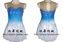 blue ice skating dress hot sale blue figure skating clothing custome girls ice dress for skating free shipping
