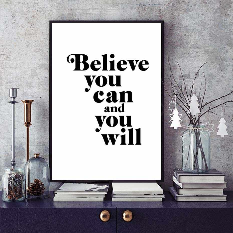Believe You Can And You Will Motivational Quote Home Wall Art Decor Print Painting For Living Room Office No Frame
