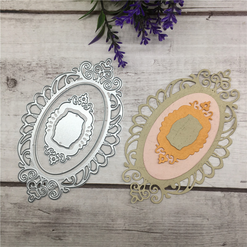DIY Oval Cutting lace Metal Dies Stencils for Scrapbooking photo album Decorative Embossing DIY Paper Cards in Cutting Dies from Home Garden