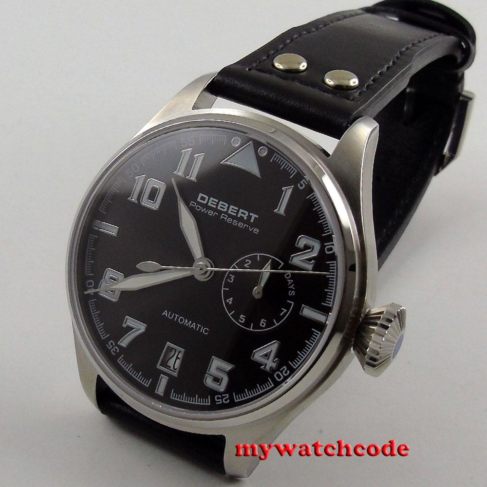 42mm Debert black dial Sapphire Glass power reserve automatic mens Watch C89 цена и фото