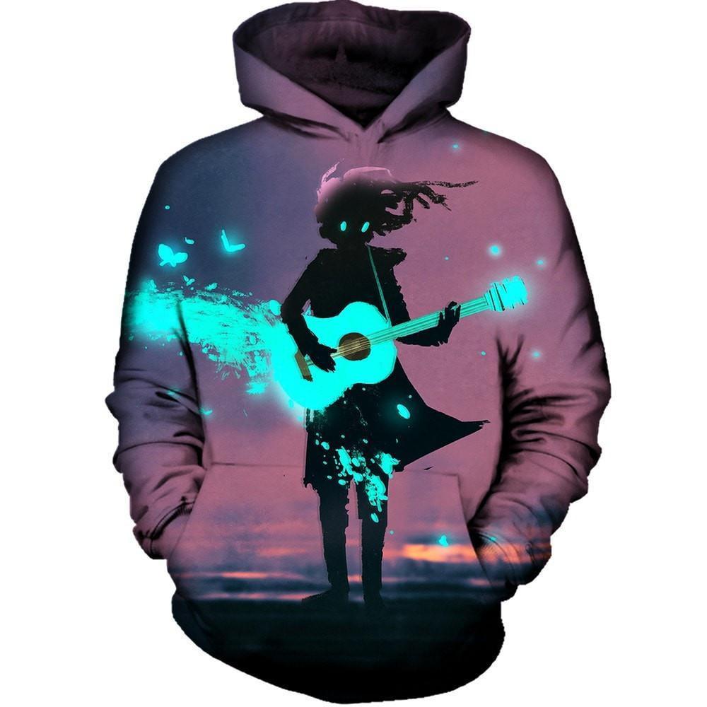 2017 NOUVEAU mode hommes femmes Cool sweat Hoodies Hommes femmes 3D impression Anime fille Jouant la guitare Streetwear manches Longues clothIing