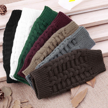 Men Women Knitted Solid Color Long Fingerless Winter Gloves Soft Warm Mitten