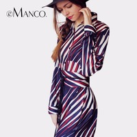EManco Fashion Striped Loose Long Vestido For Women Multicolor Knee Length Bohemia Style Ladies Dress Casual