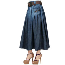 Free Shipping 2018 New Fashion Summer Denim All-match Loose Casual Jeans Skirt Elastic Waist Long Skirt For Women With Belt S-XL