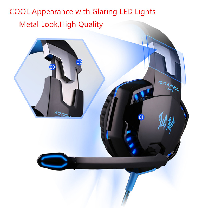 Gaming Headsets Wired Headphones with Microphone Light for a Mobile Phone Deep Bass Auriculares Con Cable for PS4,PC New Xbox 4