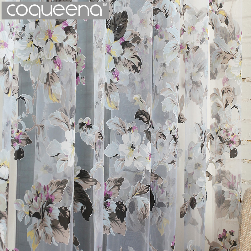 Ready Made Custom Flower Blommor Voile Sheer Tulle Gardiner för vardagsrum Bedroom Kitchen Door Window Home Decor, 1 Panel / PCS