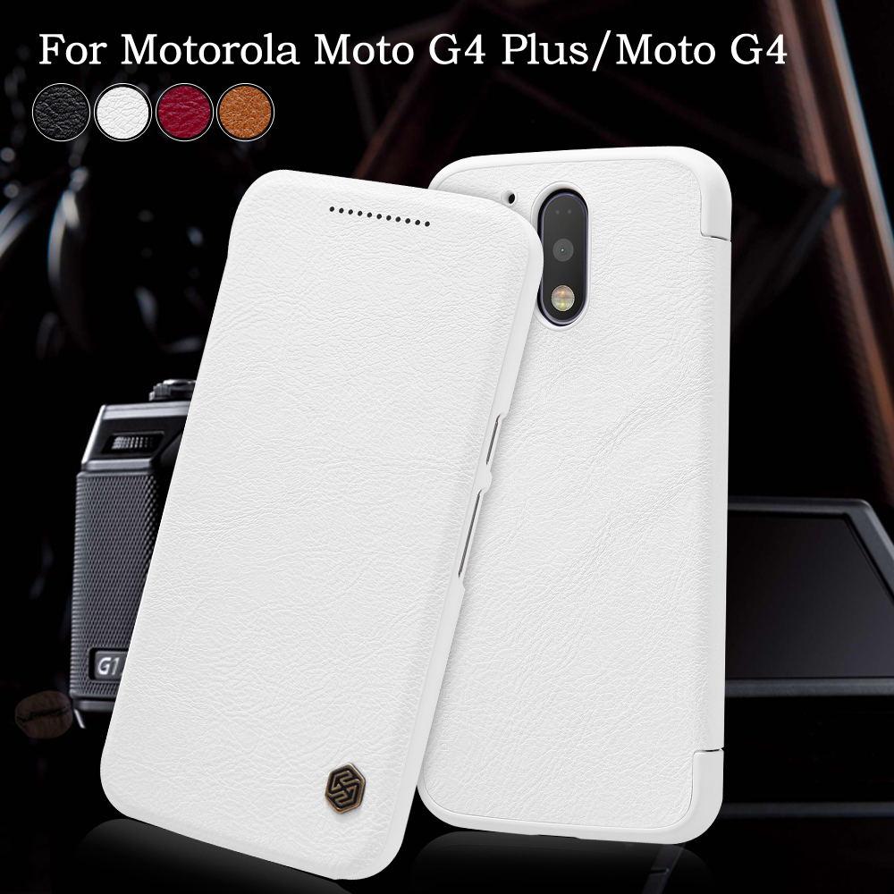 imágenes para NILLKIN para Motorola Moto G4 Plus/Moto G4 Qin Serie Titular de la Tarjeta Cajas Del Teléfono de cuero Cubierta de Shell para Motorola Moto G 4