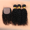 7A Cabelo Virgem Encaracolado Mongol Com Fechamento Superior Virgem Mongol cabelo Com Fechamento Profunda Encaracolado Cabelo Humano 3 Pacotes Com fechamento