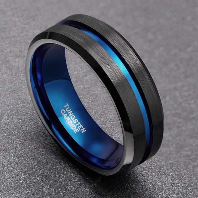 8mm Men Black Tungsten Carbide Ring Thin Blue Line Wedding Band Vintage Men Jewelry