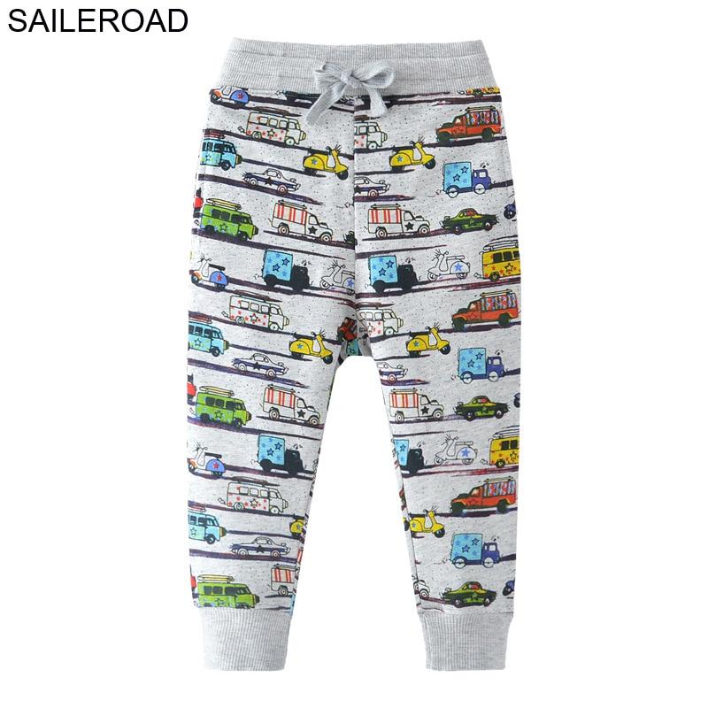 SAILEROAD 2-7Years Cartoon Auto Muster Jungen Voller Länge Hosen Frühling Herbst Baby Kinder Casual Hosen Baumwolle Kinder jungen Hosen