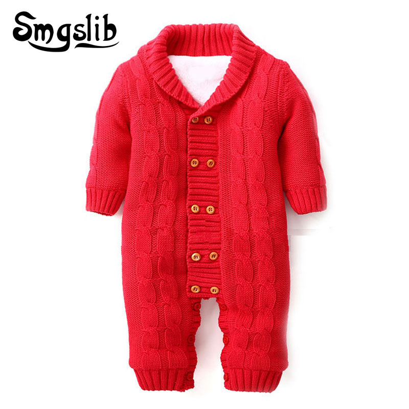 Baby winter clothes Thick Warm baby knitted clothes Sweater Jumpsuit Hooded children snowsuit Outerwear baby girl boy romper операционная система microsoft windows 10 home