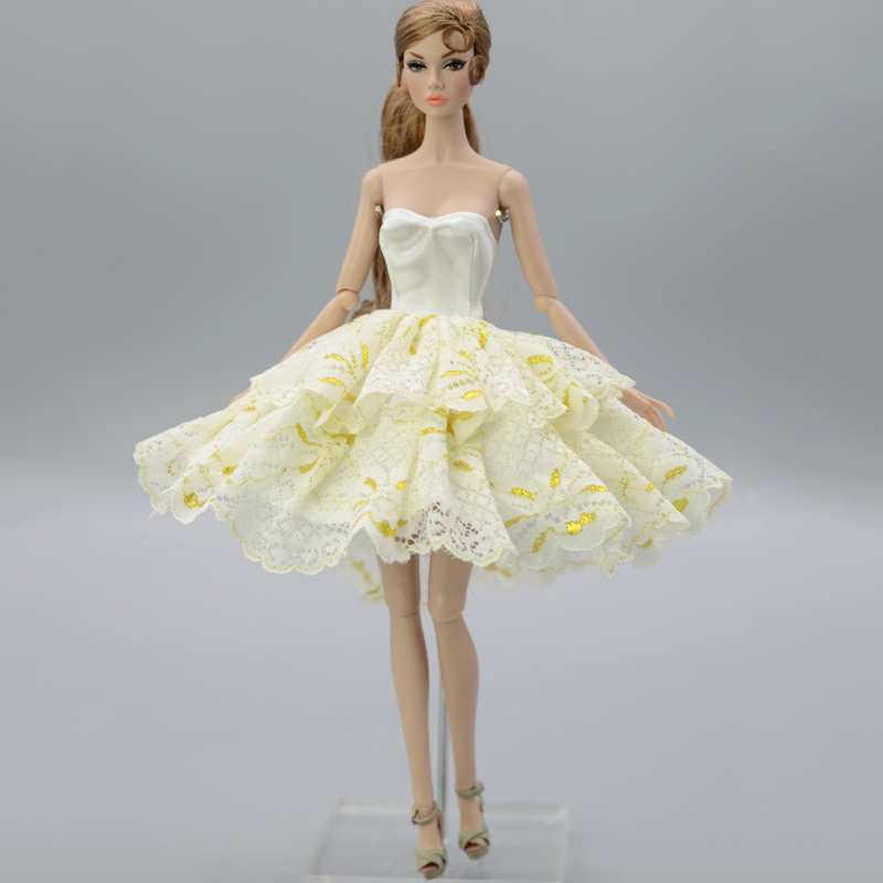 Light Yellow Fashion Tutu Dress For Barbie Doll Outfits Party Dresses Clothes For Barbie Dollhouse 1/6 Doll Accessories Kids Toy