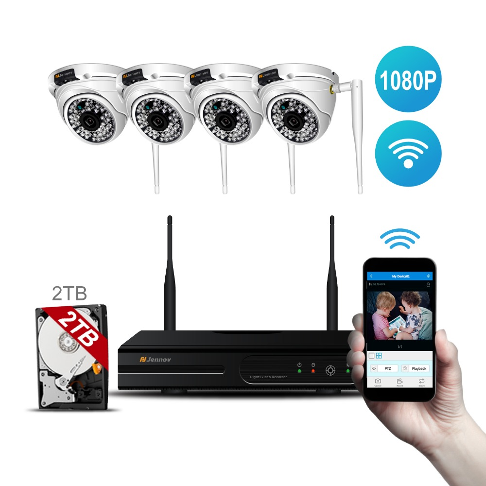 4CH HD 1080P 2MP Wireless Outdoor Home Security Camera System With NVR Wifi Ip Kit CCTV Set Dome Video Surveillance kits Ip Cam