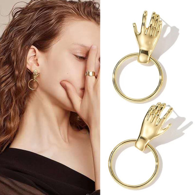 Trend Abstract Art Drop Earrings Gold Color Hand Palm Dangle Earrings Girls Fashion Statement Earrings For Women Jewelry E108