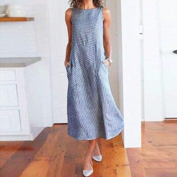 eb518aca18db3de Product Offer. Модные летние хлопчато-бумажное, Полосатое длинное платье с  карманами, свободный, Открытое платье без рукавов Для женщин ...