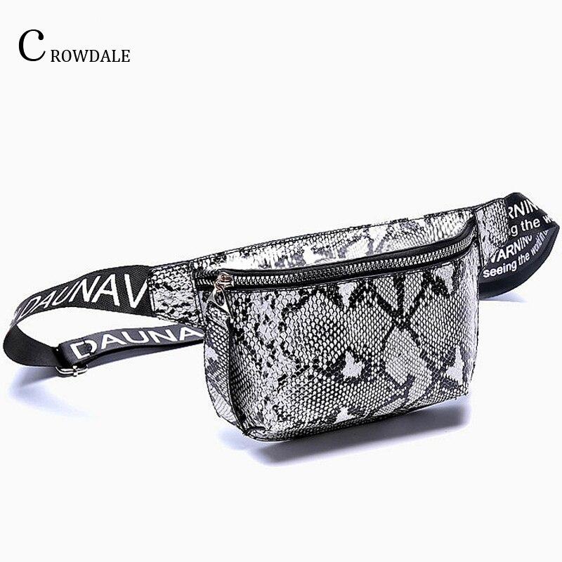 CROWDALE Waist Bag Female Belt New Brand Fashion Serpentine Chest Handbag Unisex Fanny Pack Ladies Waist Pack Belly Bags Purse