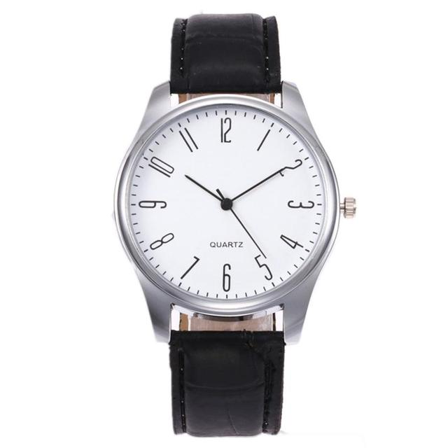 Mens Simple Business Fashion Leather Quartz Wrist Watch men's watches of the fam
