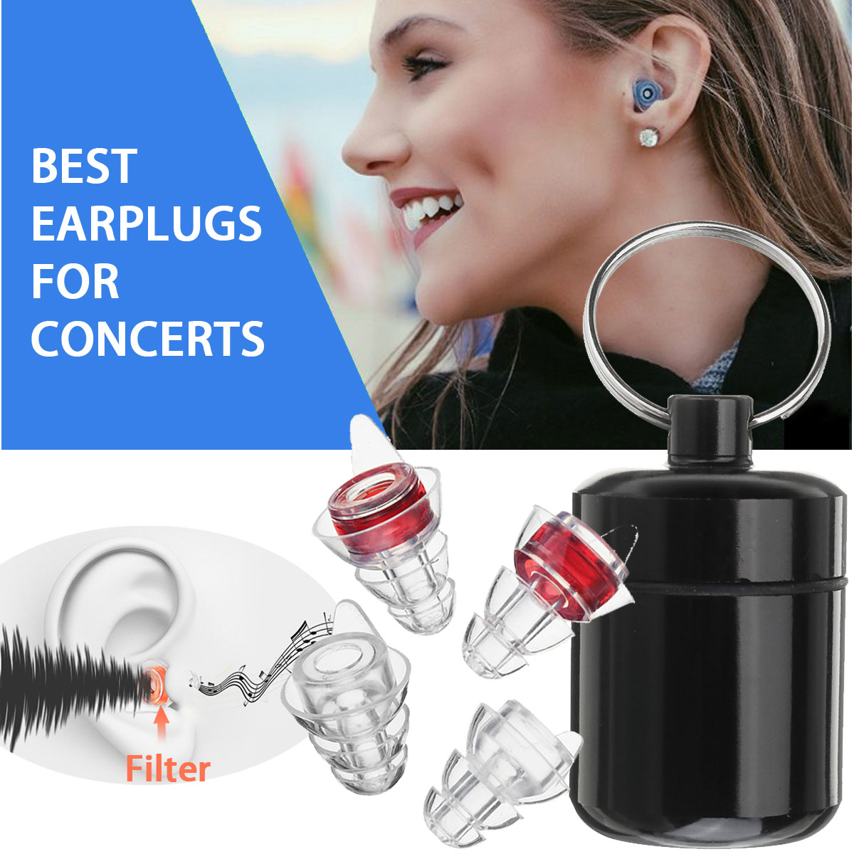 2 Pairs Reusable Silicone Ear Plugs Noise Cancelling Hearing Protection Earplugs For Concerts Sleeping Bar DJ Motor Sports