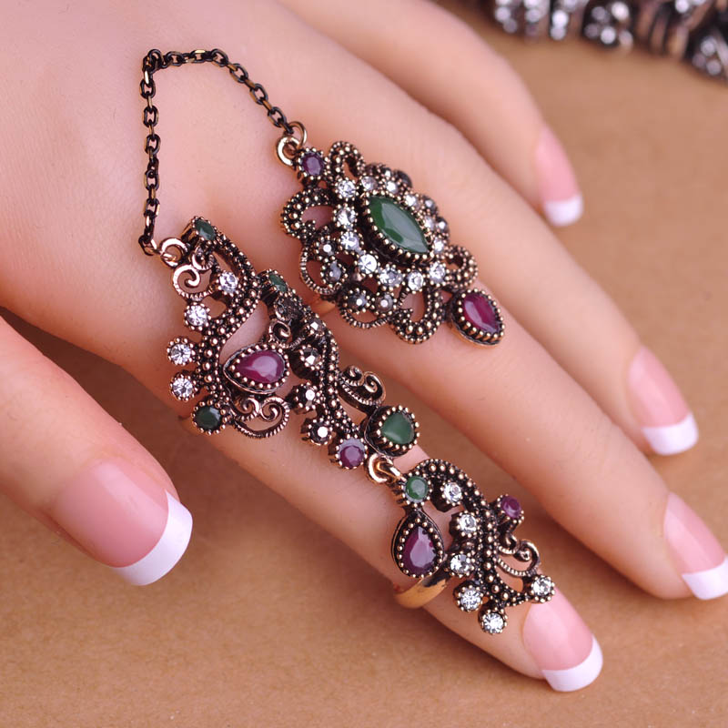 Blucome New Arrival Adjustable Turkish Two Finger Rings For Party ...