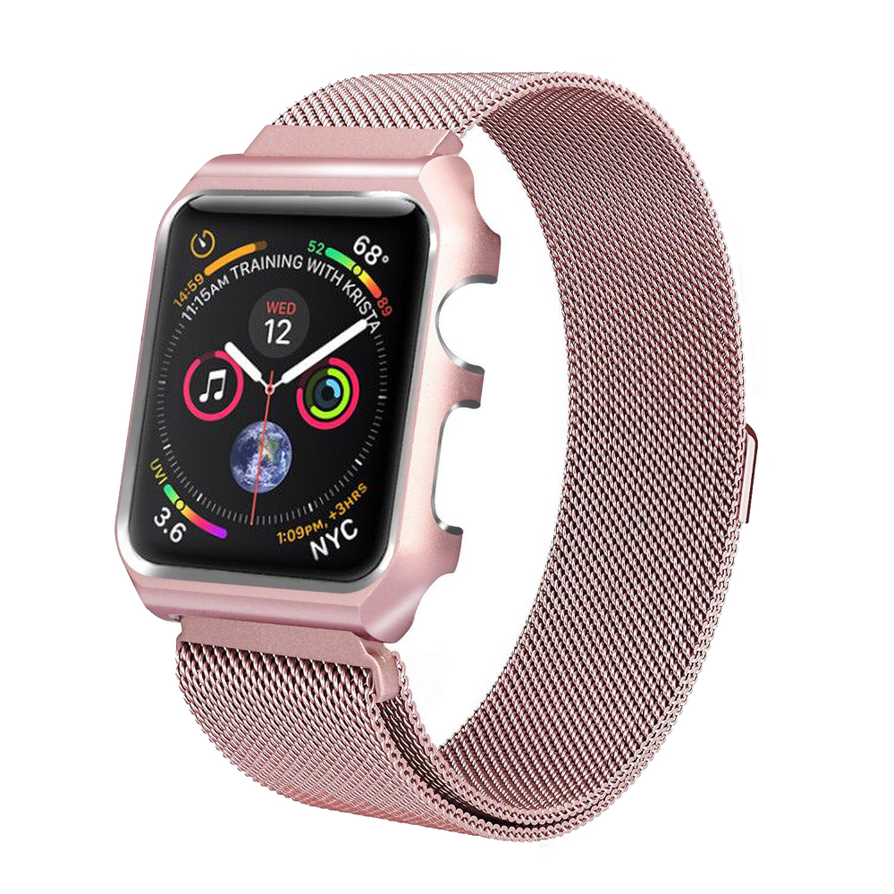 Milanese Loop Strap For Apple Watch band 44mm 40mm iwatch 4/3/2/1 42mm 38mm Stainless Steel Link Bracelet Wrist Watchband+Case milanese loop watch strap men link bracelet stainless steel woven black for apple watchband 42mm 38mm iwatch free tools