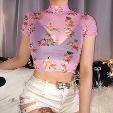Sweet Pink Transparent Mesh Top Dog Floral Print Women Sexy T-shirts Summer Clothes 2019 Harajuku Crop Tops Tees Tshirt(China)