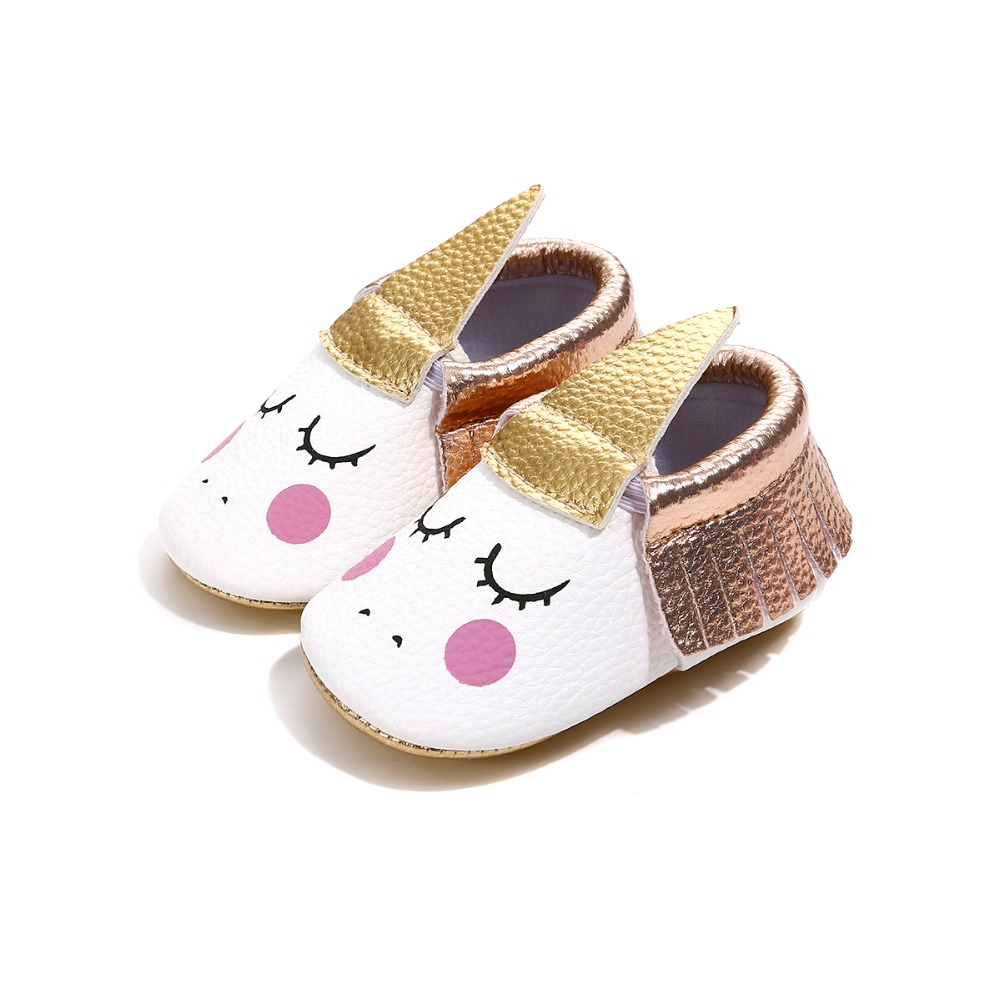 Knowledgeable 2018 Handmade Custom Party Baby Girl Shoes Pu Leather Blush Angle Unicorn Baby Soft Sole First Walker Tassel Toddler Moccasins