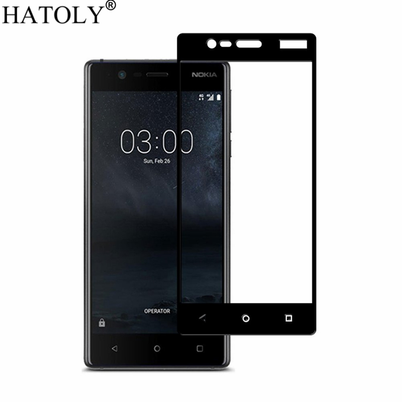 2PCS Tempered Glass For Nokia 3 Screen Protector For Nokia 3 Full Cover For Nokia 3 TA-1020 TA-1032 3D Curved Edge Film HATOLY