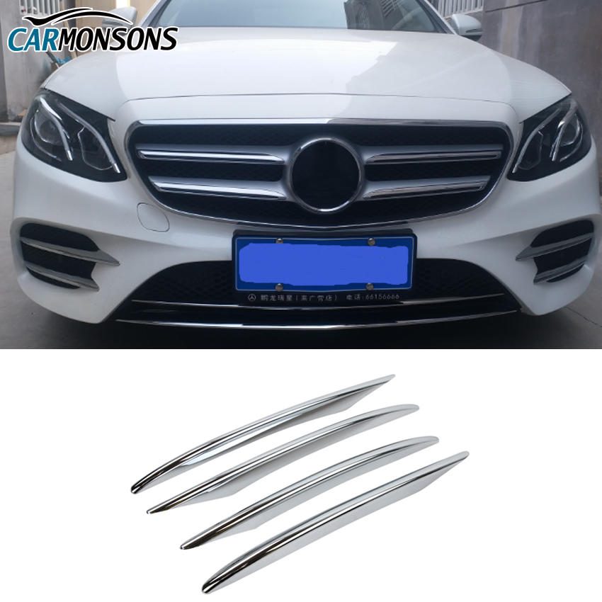 Car-styling ABS Chrome Exterior Decoration Front Fog Lamp Cover Trim Decal Refit For E-Class W213 E200 E300 2016 2017 E43 AMG