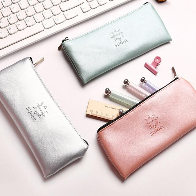 Super recomendado Simples ouro prata verde rosa Suprimentos Bts Escola Caixa de Lápis de couro artigos de Papelaria saco De Armazenamento Caixa de Lápis de Presente