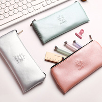 Super recommended Simple green gold silver pink leather Pencil Case School Supplies Bts Stationery Gift Storage bag Pencil Box [category]