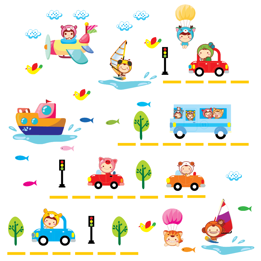 baby gift wall stickers cartoon boat Cars Children's Room Boy bedroom decoration sticker - JADOR Co.,Ltd store