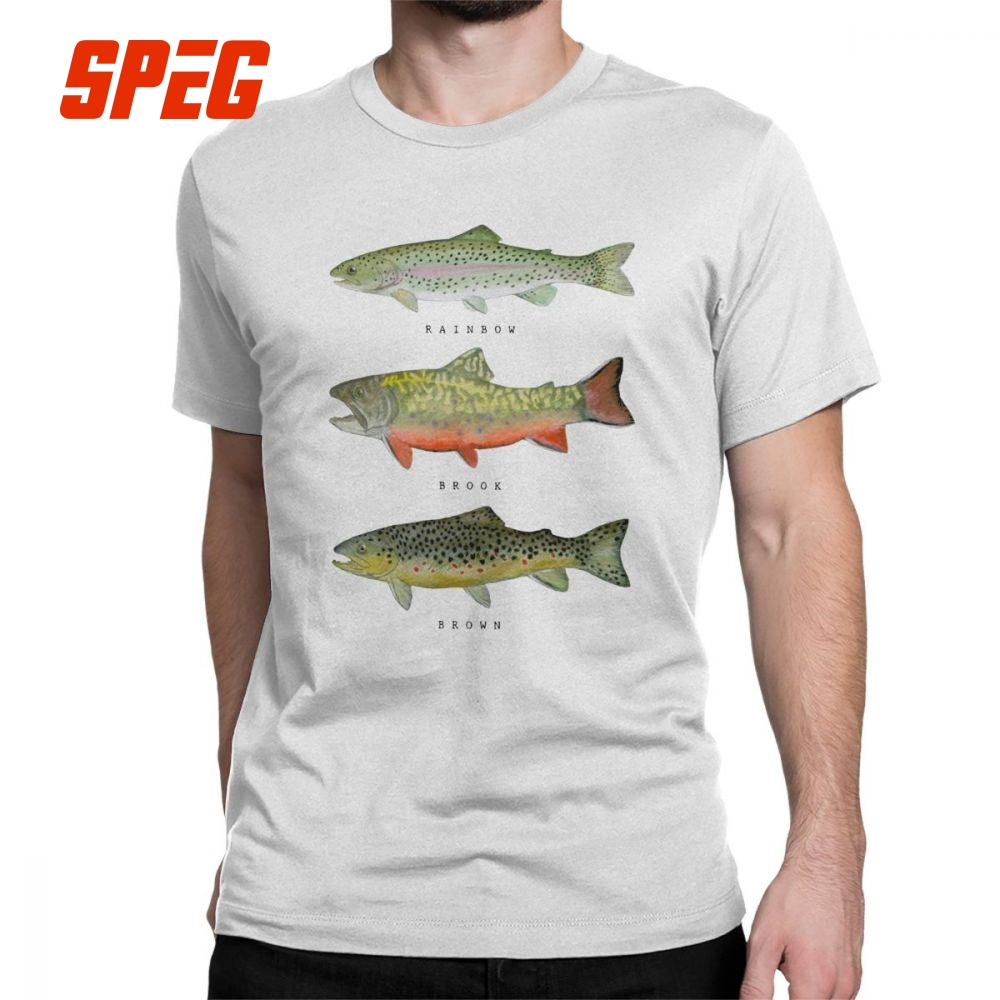 Men's   T     Shirts   Brown Rainbow Trout Triad Funny Short Sleeve Fishing Fly Fishing Tees Crew Neck Clothes Cotton Printed   T  -  Shirt
