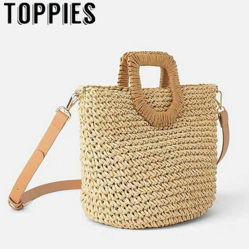 2019 Summer Women Straw Handbags Beach Style Bohemian Straw Totes Vintage Holiday Bucket Bags