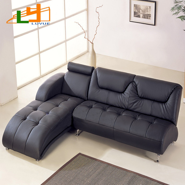 Small Apartment L Shaped Corner Sofa Leather Sofa Modern Chinese Foshan  Furniture IKEA