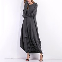 Women Long Sleeve Casual Plain Long Maxi Dress Vintage Kaftan Plus Size Full Length Cotton Evening