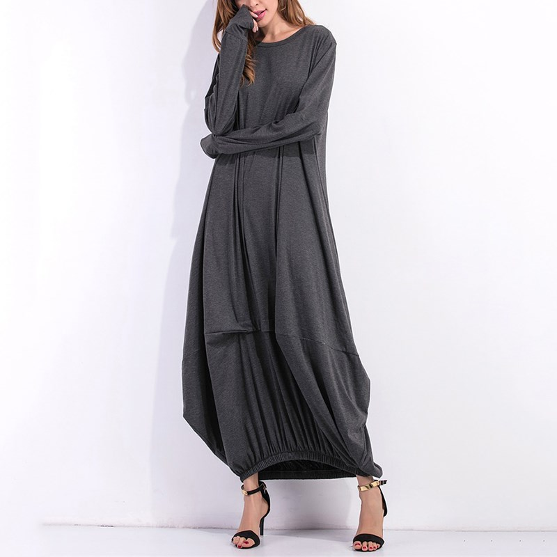 2017 Winter Women Long Sleeve Casual Plain Long Maxi Dress ...
