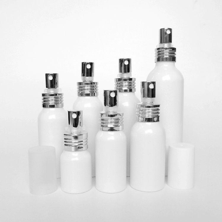 f5a8614e0e5cb4 50pcs 20 30 50 60 80 100 150ml Aluminum white empty spray bottle Fine Mist  Refill cosmetic spray jar Sample subpackage bottles .