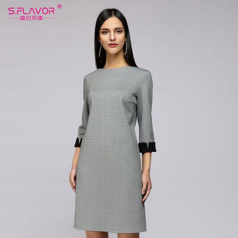 S.FLAVOR women autumn mini dress 2018 plaid printing vintage O-neck short vestidods Women Three Quarter sleeve casual dresses