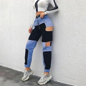 Image 2 - HEYounGIRL 하라주쿠 힙합 카고 바지 여성 중공업 하이 웨스트 바지 Streetwear Patchwork Sweatpants and Joggers Ladies