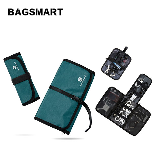 BAGSMART 2 Sets Electronics Accessories Organizer Travel Handbags For Earphone Phone Charger Data Cables USB  Case