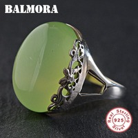 BALMORA 925 Sterling Silver Luxury Rings for Women Mother Party Gift Green Stone Ring Vintage Fashion Jewelry Bijoux MN20626