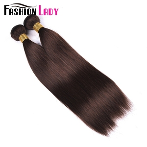Image 2 - Fashion Lady Pre Colored Brazilian Hair Straight Hair Bundles 3/4 Bundles Dark Brown Color #2 Human Hair Extensions Non Remy
