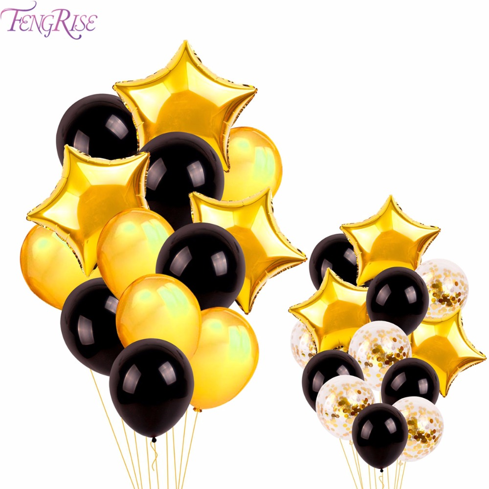 FENGRISE 13pcs Pearl Black Gold Latex Balloons Star Shape Foil Helium Inflate Baloon Home Wedding Decoration Balloon