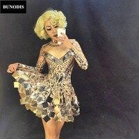 BU013 Monroe Shining Silver Mirrors Skirt Nightclub Celebrate Party Leotard Performance Christmas Singer Dancer Costume