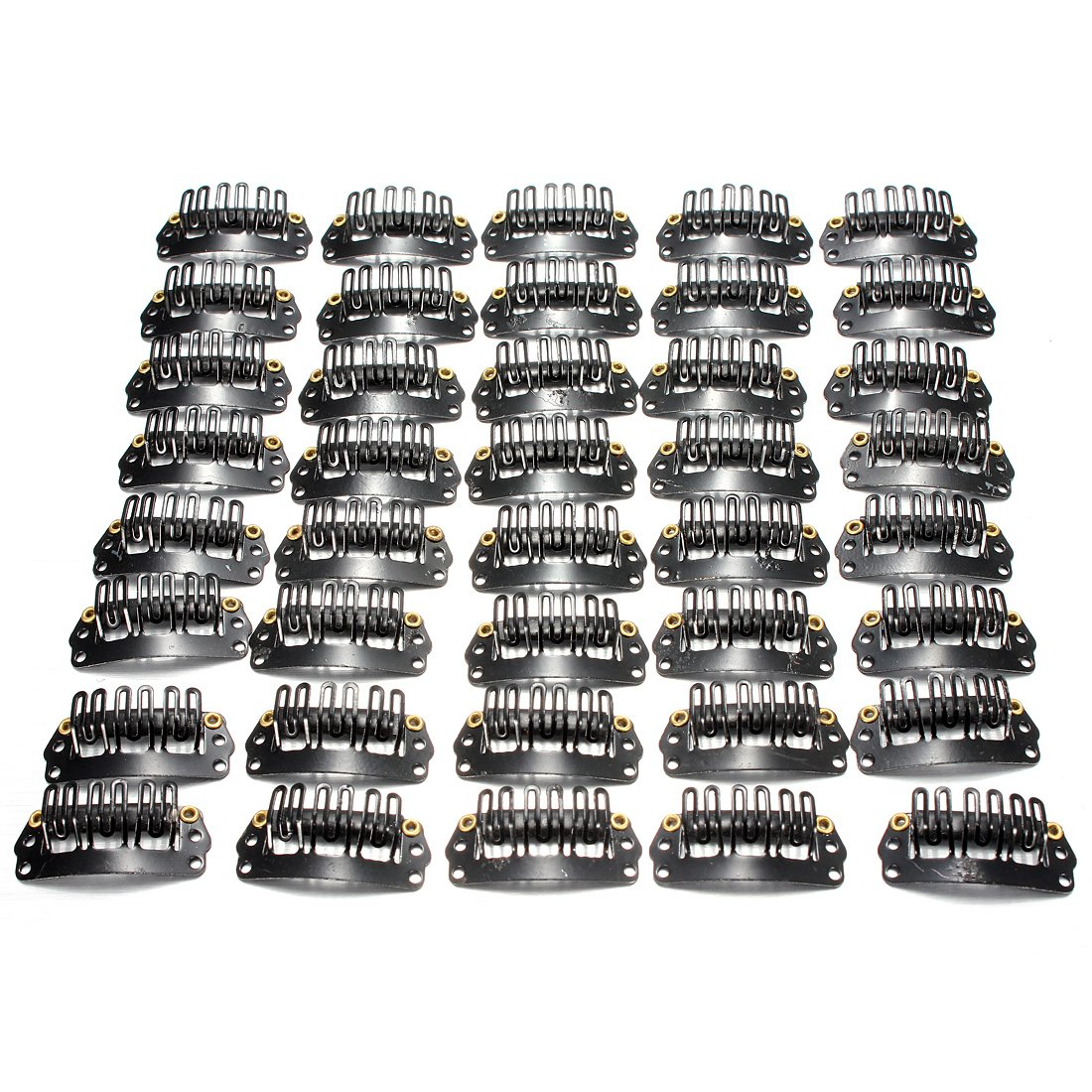 HOT-40pcs U-shaped Clamp For Hair Extensions Wig Clips DIY Comb Black Frame